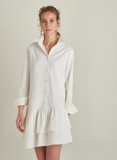 NGSTYLE Volanlı Pamuk Saten Elbise Beyaz